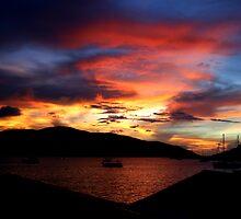 Saba Rock Island Sunset by DARRIN ALDRIDGE