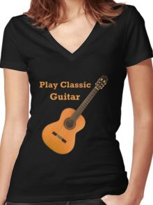 Play  Classic Guitar Women's Fitted V-Neck T-Shirt