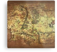 Distressed Maps: Lord of the Rings Middle Earth Metal Print