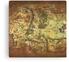 Distressed Maps: Lord of the Rings Middle Earth Canvas Print