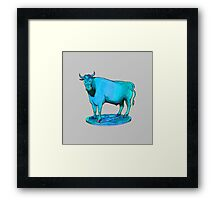 Blue bull graphic design Framed Print