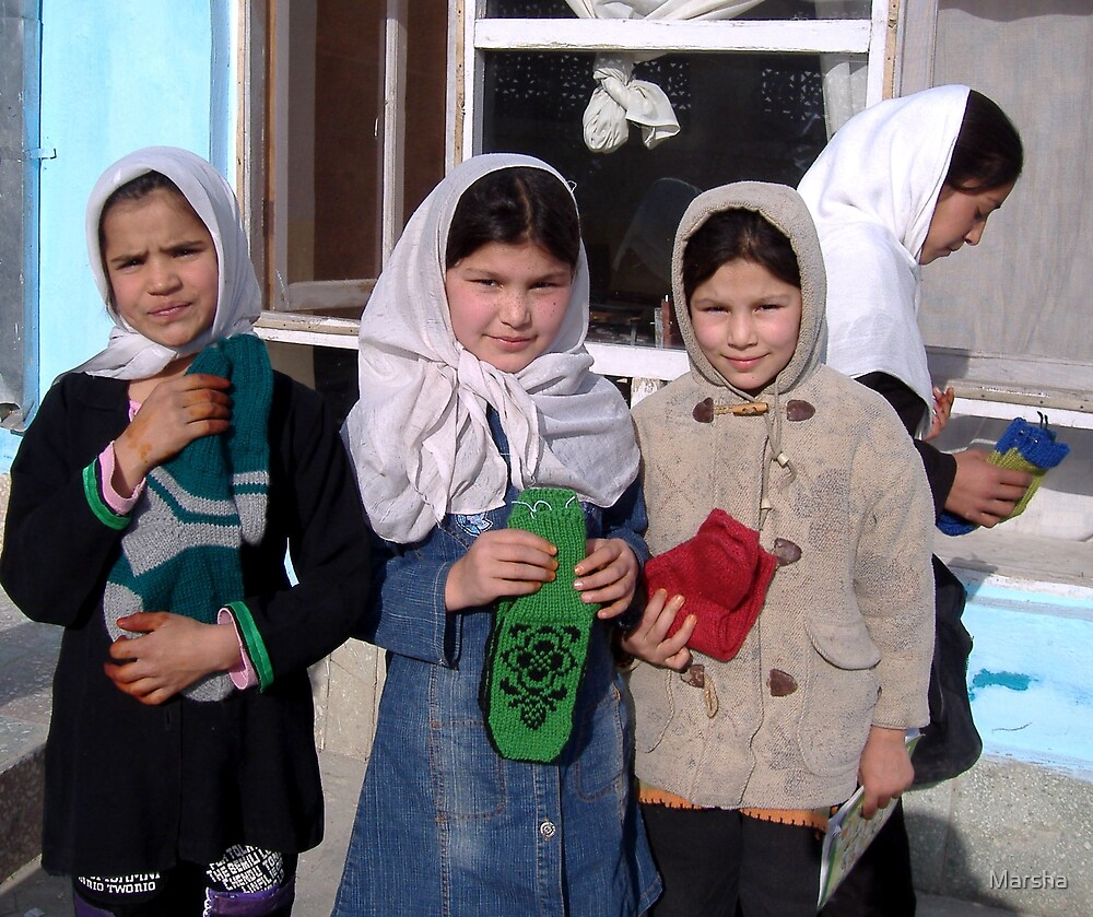 Socks for Afghan students -  from North American knitting club! by Marsha