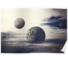 Surreal Moons In Bright Sky  Poster
