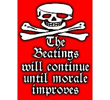 Pirate, Morale, Skull & Crossbones, Buccaneers, WHITE on RED Photographic Print