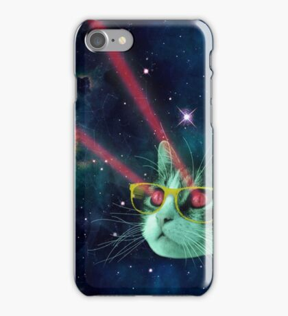 Laser cat with glasses in space iPhone Case/Skin