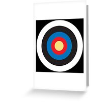 Bulls Eye, Right on Target, MOD Roundel, on BLACK Greeting Card