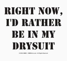 Right Now, I'd Rather Be In My Drysuit - Black Text T-Shirt