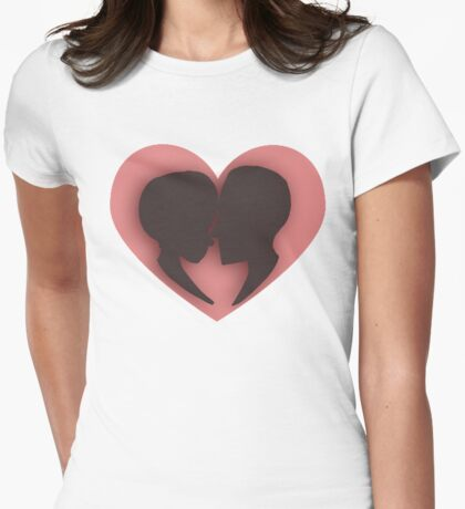 Pink/red couple heart valentines  Womens Fitted T-Shirt