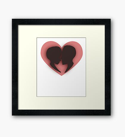 Pink/red couple heart valentines  Framed Print