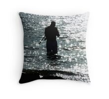 moonlight fishing Throw Pillow