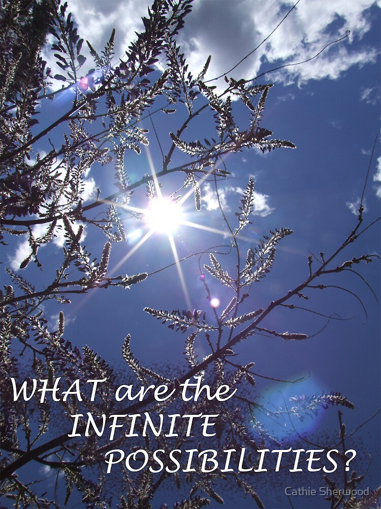 "Jacaranda Sunburst with caption ""What Are the Infinite Possiblities?"" by Cathie Sherwood"
