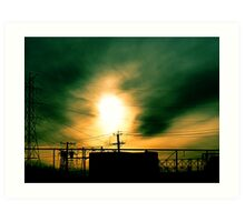 #80  Sunset With Powerlines Art Print