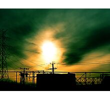 #80  Sunset With Powerlines Photographic Print