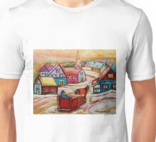 CANADIAN WINTER LANDSCAPE WITH HORSE AND SLED BEAUTIFUL CANADIAN PAINTINGS CAROLE SPANDAU Unisex T-Shirt