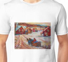 BEAUTIFUL PAINTINGS OF CANADA LOGGER WITH SLED CHARMING QUEBEC WINTER SCENE CAROLE SPANDAU Unisex T-Shirt