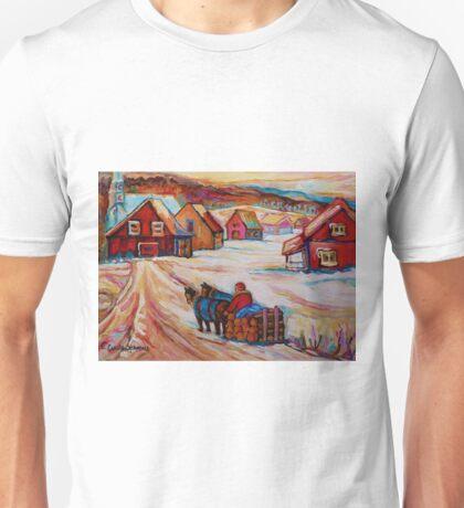 BEAUTIFUL PAINTINGS OF CANADA LOGGER WITH SLED CHARMING QUEBEC WINTER SCENE CAROLE SPANDAU Unisex T-Shirt