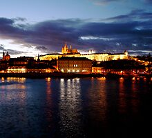 Prague at night by Jennifer Douglas