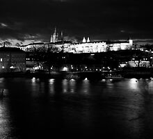 Prague at night (black and white) by Jennifer Douglas