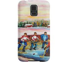 POND HOCKEY ON FROZEN LAKE CANADIAN WINTER SCENES PAINTING CAROLE SPANDAU Samsung Galaxy Case/Skin