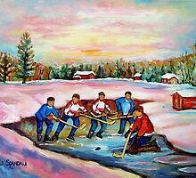 POND HOCKEY ON FROZEN LAKE CANADIAN WINTER SCENES PAINTING CAROLE SPANDAU by Carole  Spandau