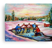 POND HOCKEY ON FROZEN LAKE CANADIAN WINTER SCENES PAINTING CAROLE SPANDAU Canvas Print