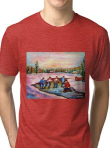 POND HOCKEY ON FROZEN LAKE CANADIAN WINTER SCENES PAINTING CAROLE SPANDAU Tri-blend T-Shirt