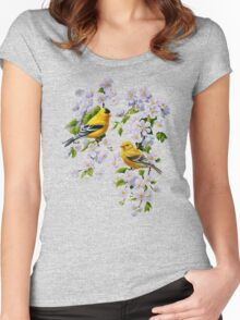 Goldfinches and Blossoms Women's Fitted Scoop T-Shirt