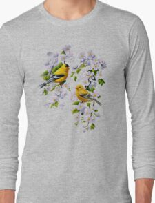 Goldfinches and Blossoms Long Sleeve T-Shirt