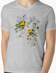 Goldfinches and Blossoms Mens V-Neck T-Shirt