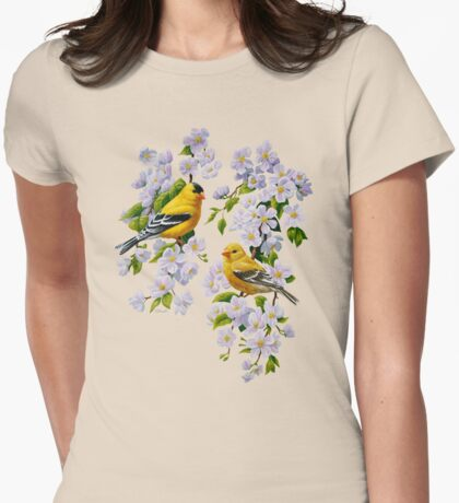 Goldfinches and Blossoms Womens Fitted T-Shirt