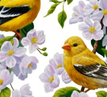Goldfinches and Blossoms Sticker