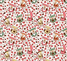Cute Owls Floral Seamless Pattern. by Kimazo
