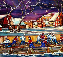 LATE NIGHT POND HOCKEY GAME BEAUTIFUL PAINTINGS OF CANADIAN WINTER SCENES BY CANADIAN ARTIST CAROLE SPANDAU by Carole  Spandau