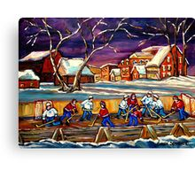 LATE NIGHT POND HOCKEY GAME BEAUTIFUL PAINTINGS OF CANADIAN WINTER SCENES BY CANADIAN ARTIST CAROLE SPANDAU Canvas Print