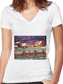 LATE NIGHT POND HOCKEY GAME BEAUTIFUL PAINTINGS OF CANADIAN WINTER SCENES BY CANADIAN ARTIST CAROLE SPANDAU Women's Fitted V-Neck T-Shirt