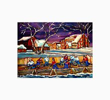 LATE NIGHT POND HOCKEY GAME BEAUTIFUL PAINTINGS OF CANADIAN WINTER SCENES BY CANADIAN ARTIST CAROLE SPANDAU Unisex T-Shirt