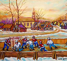 HOCKEY GAME IN THE VILLAGE CANADIAN WINTER SCENE PAINTING BY CANADIAN ARTIST CAROLE SPANDAU by Carole  Spandau