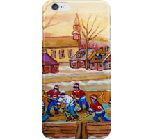 HOCKEY GAME IN THE VILLAGE CANADIAN WINTER SCENE PAINTING BY CANADIAN ARTIST CAROLE SPANDAU iPhone Case/Skin