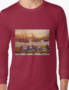HOCKEY GAME IN THE VILLAGE CANADIAN WINTER SCENE PAINTING BY CANADIAN ARTIST CAROLE SPANDAU Long Sleeve T-Shirt
