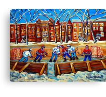 CANADIAN ART URBAN LANDSCAPE PAINTING HOCKEY WINTER SCENE BY CANADIAN ARTIST CAROLE SPANDAU Canvas Print