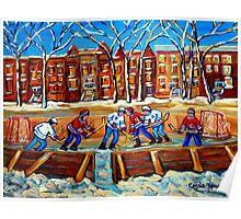 CANADIAN ART URBAN LANDSCAPE PAINTING HOCKEY WINTER SCENE BY CANADIAN ARTIST CAROLE SPANDAU Poster