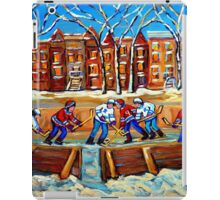 CANADIAN ART URBAN LANDSCAPE PAINTING HOCKEY WINTER SCENE BY CANADIAN ARTIST CAROLE SPANDAU iPad Case/Skin