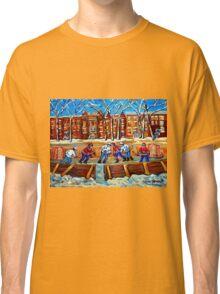 CANADIAN ART URBAN LANDSCAPE PAINTING HOCKEY WINTER SCENE BY CANADIAN ARTIST CAROLE SPANDAU Classic T-Shirt