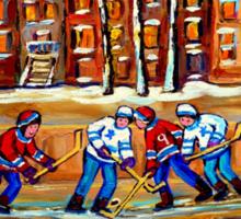 CANADIAN ART URBAN LANDSCAPE PAINTING HOCKEY WINTER SCENE BY CANADIAN ARTIST CAROLE SPANDAU Sticker