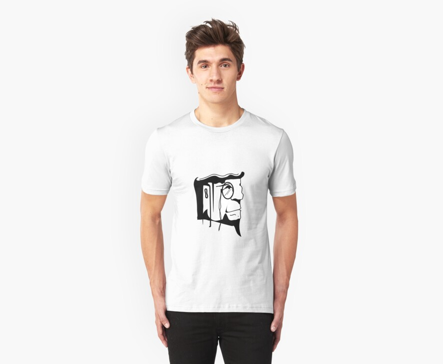 square head t w b shirts design drawing Ink Black by LeoMertens