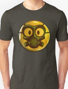 Gas Mask Smiley Face Button T-Shirt