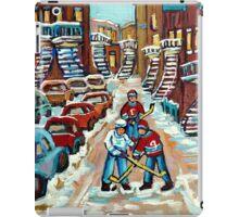 BEST STREET HOCKEY PAINTINGS CANADIAN ART BY CANADIAN ARTIST CAROLE SPANDAU iPad Case/Skin