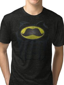 MustacheMan - Funny Comic Book Super Hero Tri-blend T-Shirt