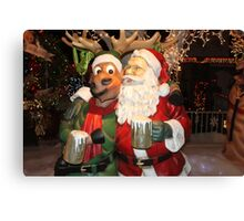 Santa stopping for hot chocolate with his reindeer.... Canvas Print