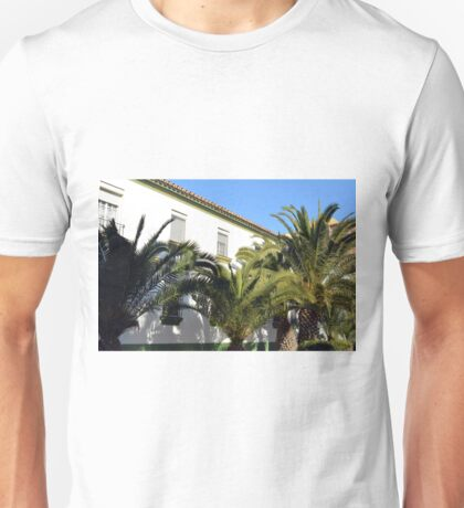 Simple white Spanish house with palm trees in front Unisex T-Shirt